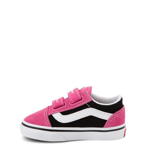 alternate view Vans Old Skool V Logo Pop Skate Shoe - Baby / Toddler - Shock Pink / BlackALT1
