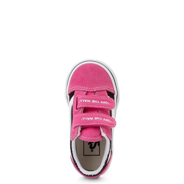 alternate view Vans Old Skool V Logo Pop Skate Shoe - Baby / Toddler - Shock Pink / BlackALT2