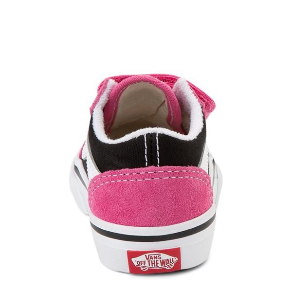 alternate view Vans Old Skool V Logo Pop Skate Shoe - Baby / Toddler - Shock Pink / BlackALT4