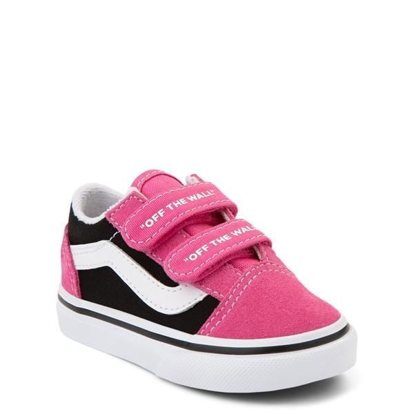 alternate view Vans Old Skool V Logo Pop Skate Shoe - Baby / Toddler - Shock Pink / BlackALT5