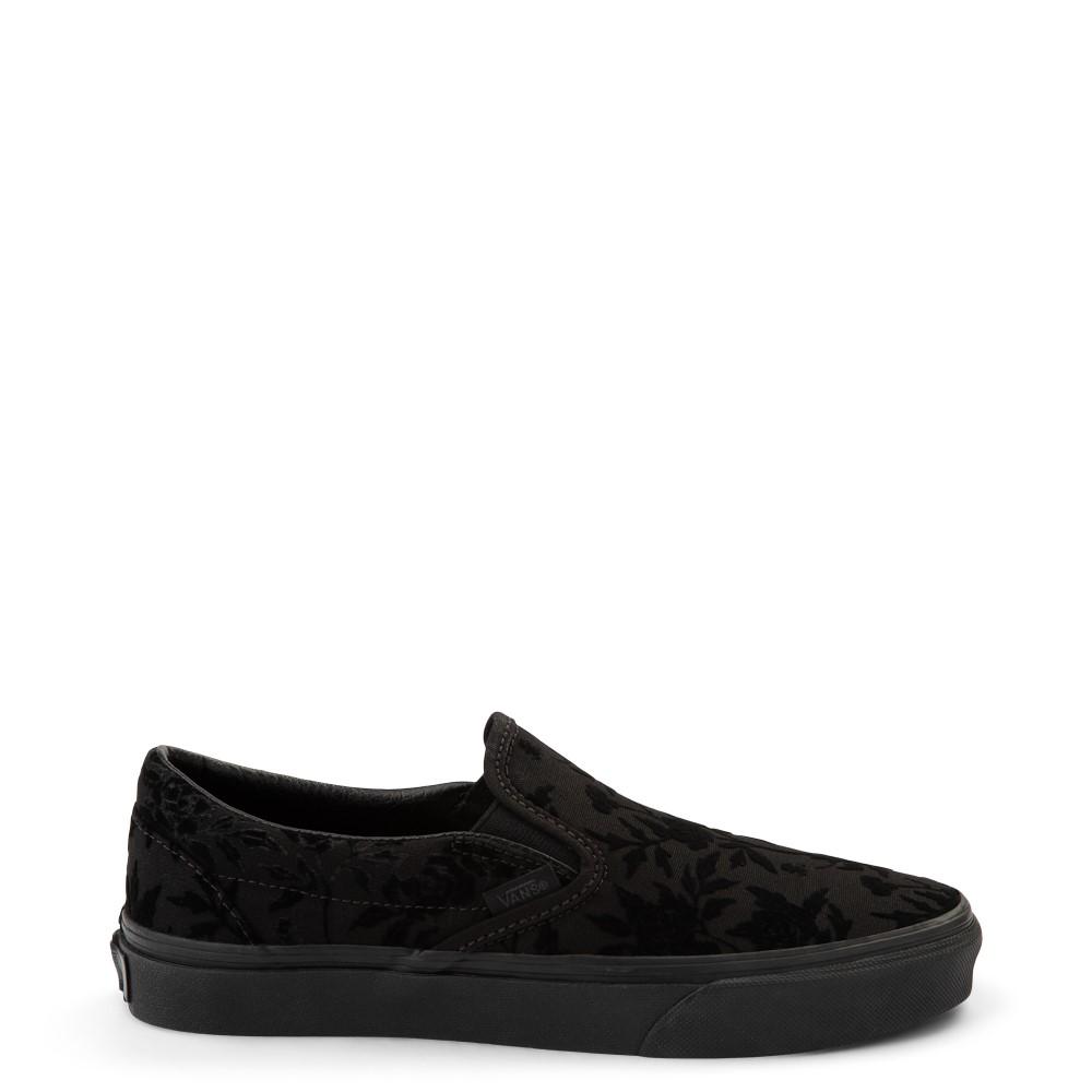 Vans Slip On Flocked Roses Skate Shoe - Black Monochcrome