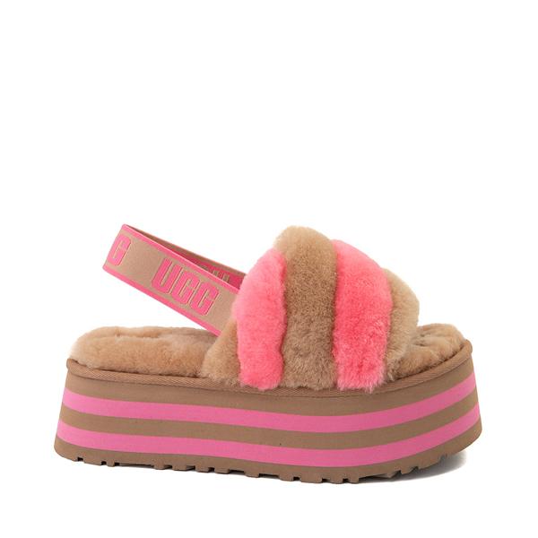 Womens UGG® Disco Stripe Platform Slide Sandal - Chestnut / Pink Rose