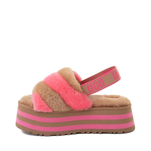 alternate view Womens UGG® Disco Stripe Platform Slide Sandal - Chestnut / Pink RoseALT1