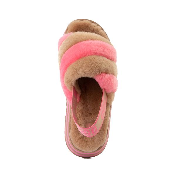 alternate view Womens UGG® Disco Stripe Platform Slide Sandal - Chestnut / Pink RoseALT2