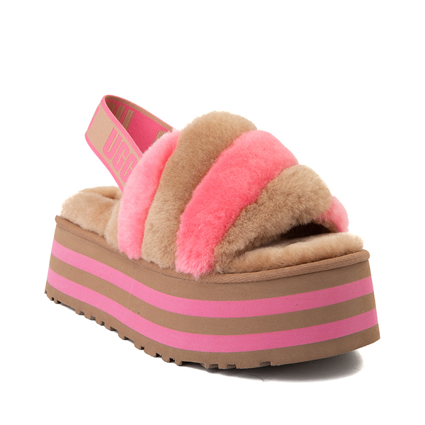 alternate view Womens UGG® Disco Stripe Platform Slide Sandal - Chestnut / Pink RoseALT5