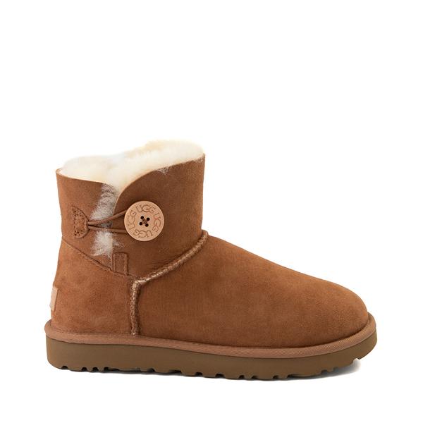 Womens UGG® Mini Bailey Button Boot - Chestnut