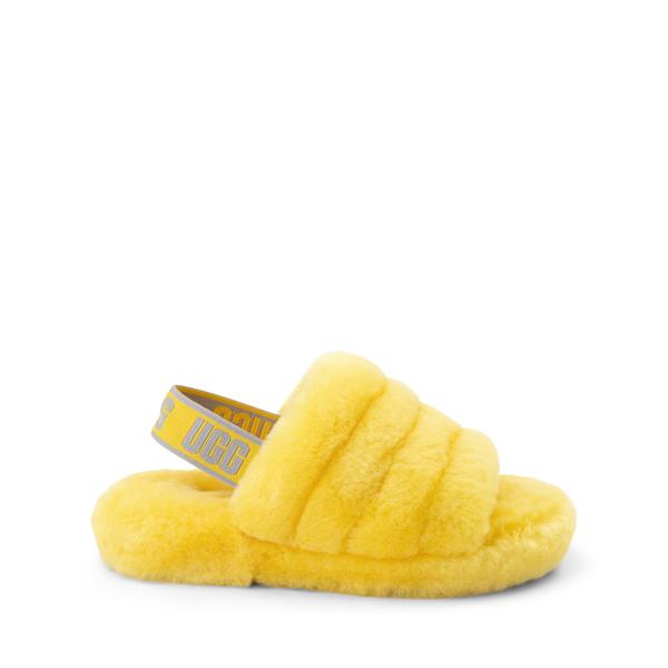 Main view of UGG® Fluff Yeah Slide Sandal - Little Kid / Big Kid - Lemon