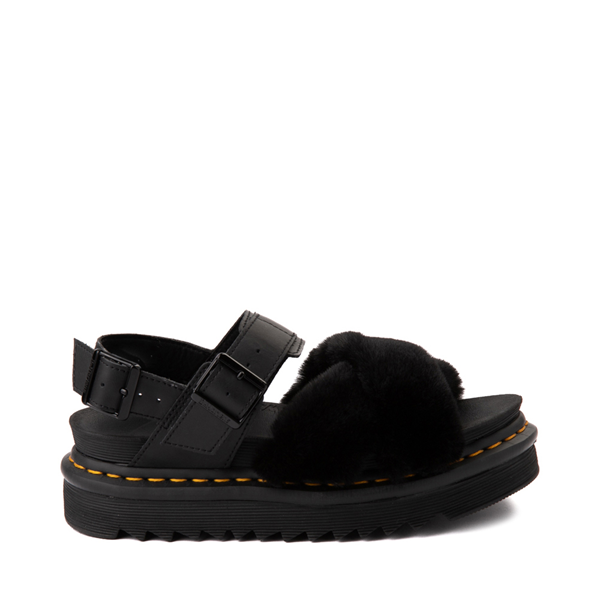 Main view of Womens Dr. Martens Voss II Fluffy Sandal - Black