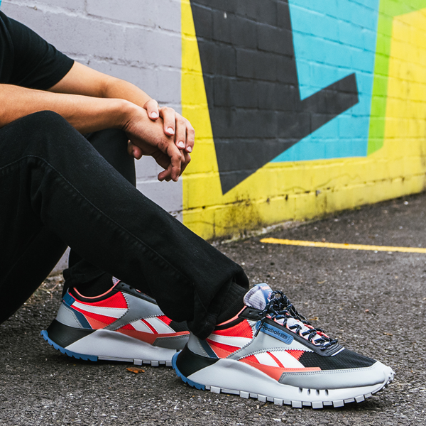alternate view Mens Reebok Classic Legacy Athletic Shoe - Gray / Black / Neon OrangeALT1B
