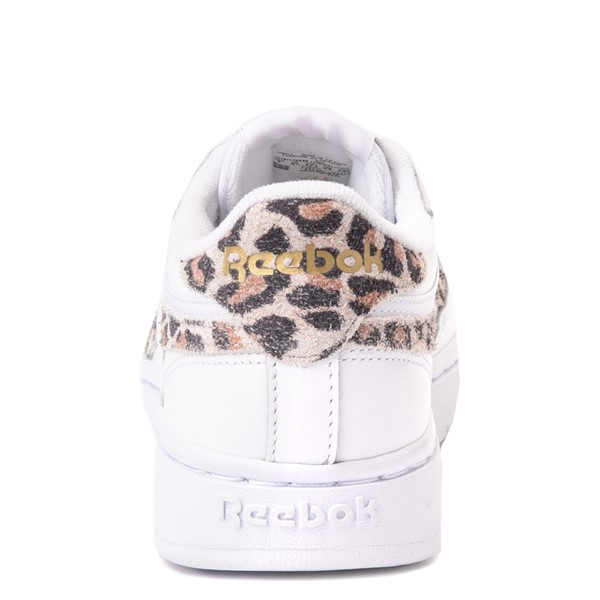 alternate view Womens Reebok Club C Double Athletic Shoe - White / LeopardALT4