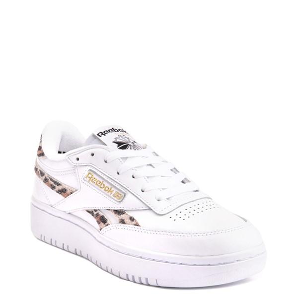 alternate view Womens Reebok Club C Double Athletic Shoe - White / LeopardALT5
