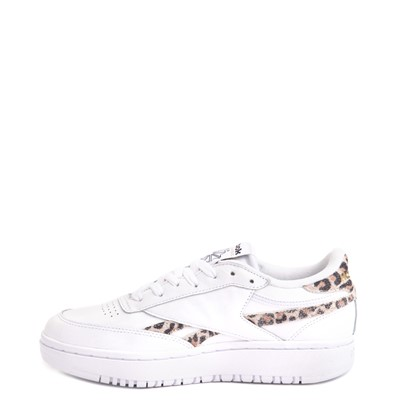 Alternate view of Womens Reebok Club C Double Athletic Shoe - White / Leopard