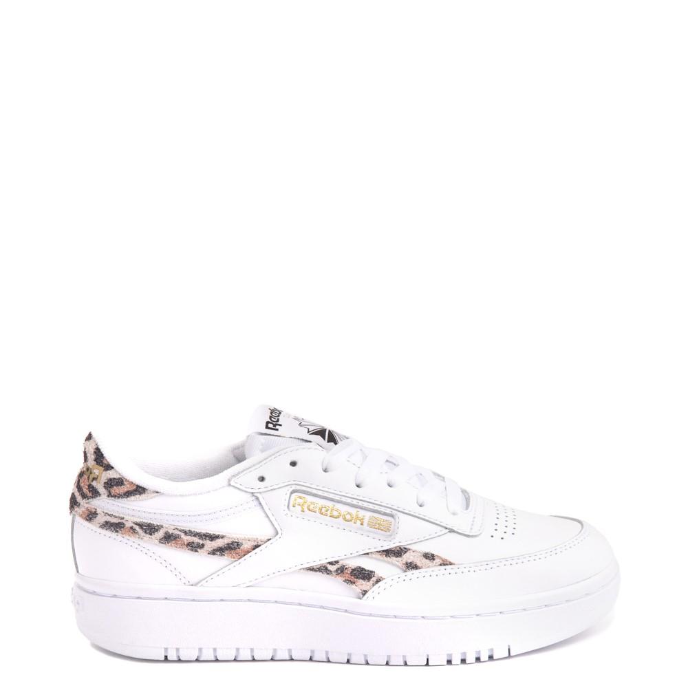 Womens Reebok Club C Double Athletic Shoe - White / Leopard