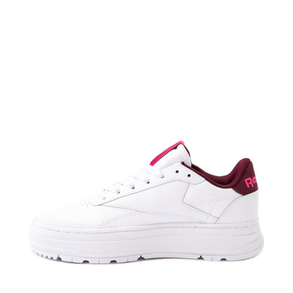 alternate view Womens Reebok Club C Double Geo Athletic Shoe - White / PinkALT1