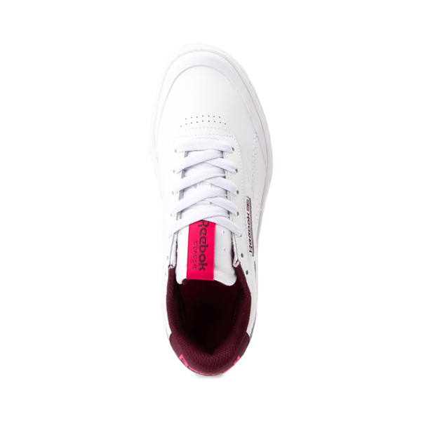 alternate view Womens Reebok Club C Double Geo Athletic Shoe - White / PinkALT2