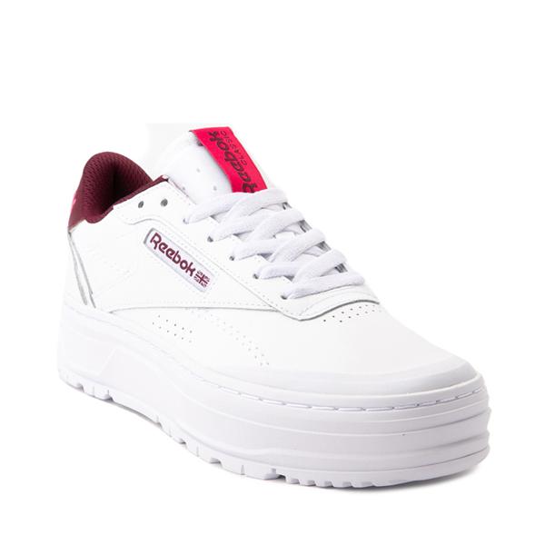 alternate view Womens Reebok Club C Double Geo Athletic Shoe - White / PinkALT5