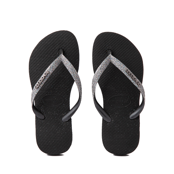 Main view of Havaianas Slim Glitter Sandal - Toddler / Little Kid - Black / Dark Gray