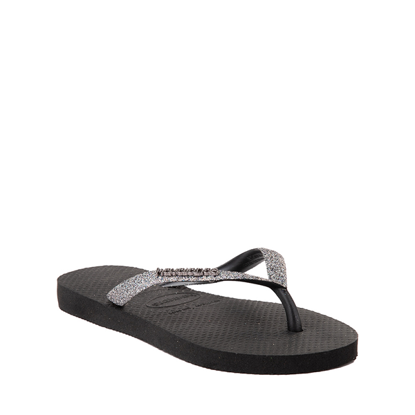 alternate view Havaianas Slim Glitter Sandal - Toddler / Little Kid - Black / Dark GrayALT5