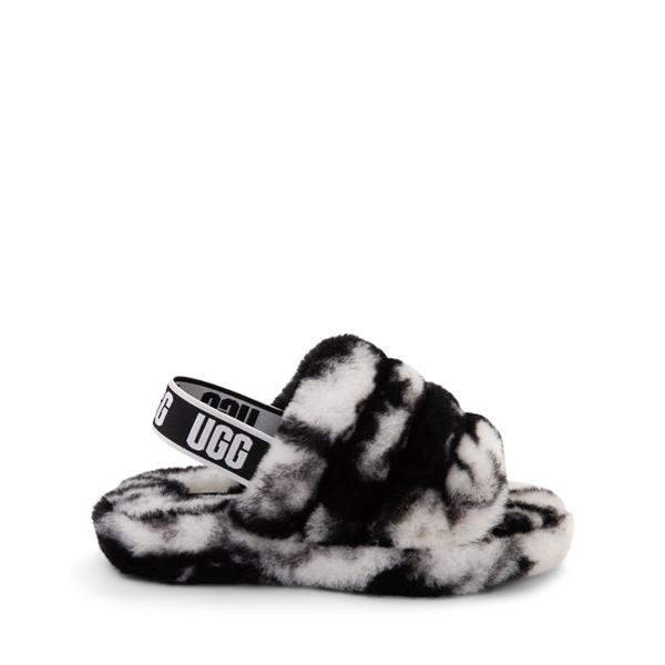UGG® Fluff Yeah Slide Sandal - Little Kid / Big Kid - Marbled Black