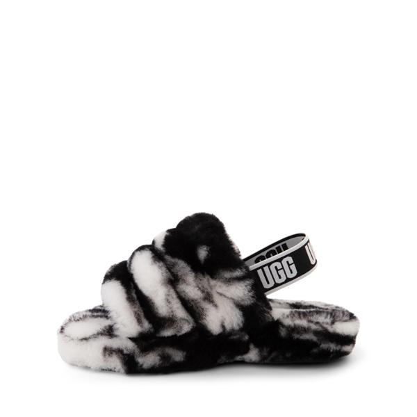 alternate view UGG® Fluff Yeah Slide Sandal - Little Kid / Big Kid - Marbled BlackALT1