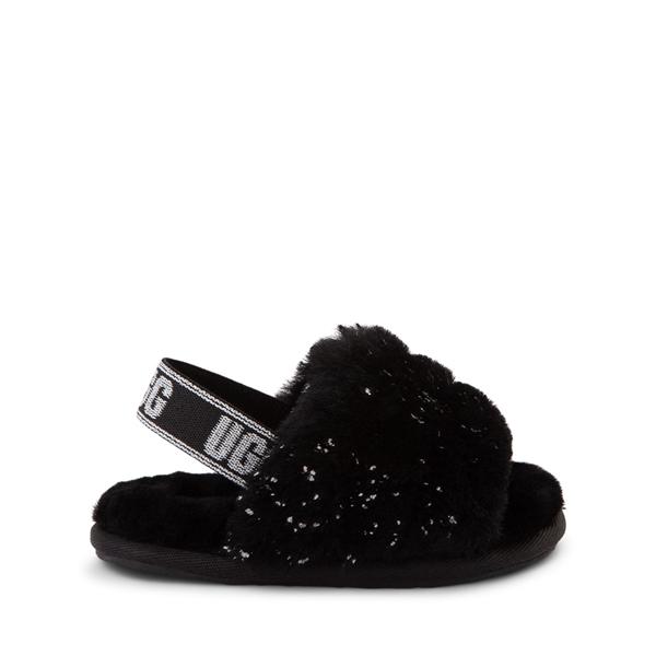 Main view of UGG® Fluff Yeah Metallic Sparkle Slide Sandal - Toddler / Little Kid  - Black