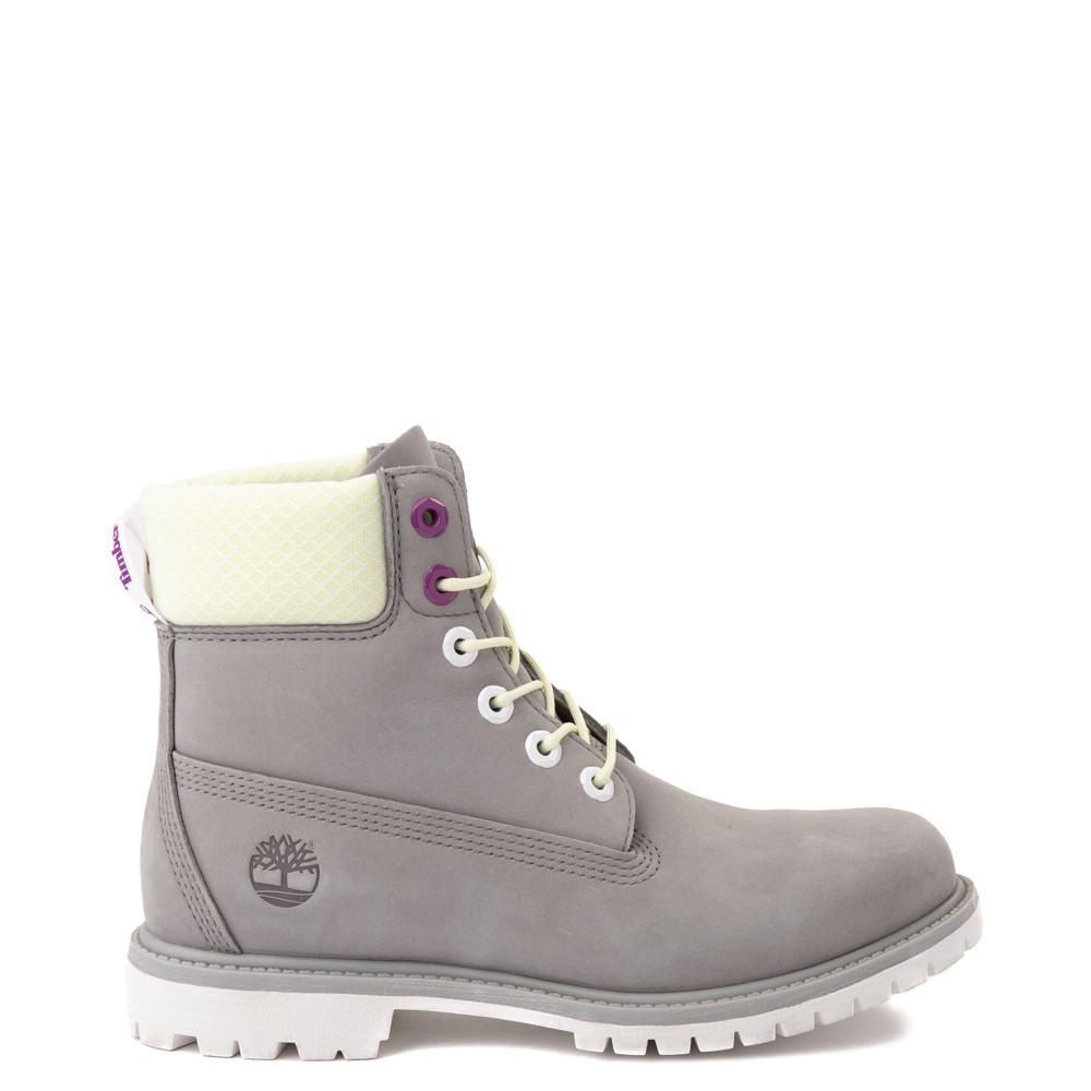 "Womens Timberland 6"" Premium Boot - Gray / Lime"