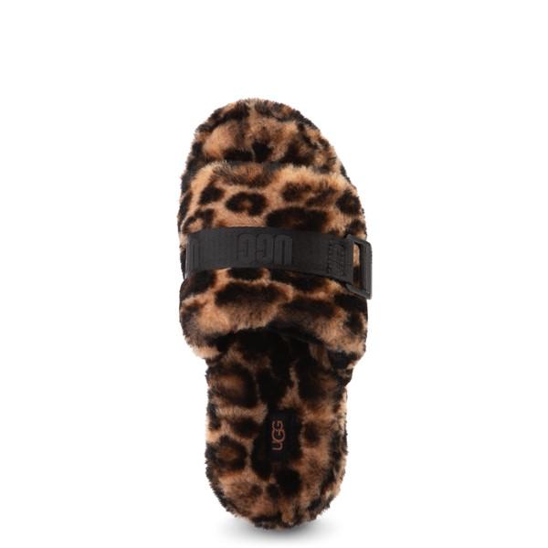 alternate view Womens UGG® Fluffita Panther Slide Sandal - ButterscotchALT2