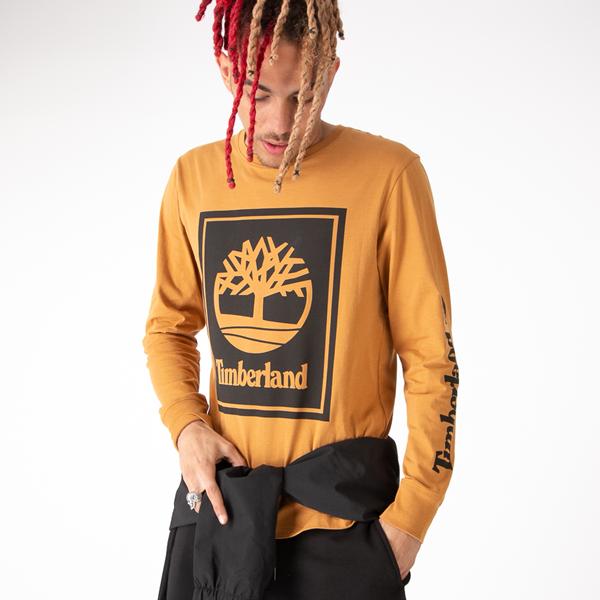 Mens Timberland Stacked Logo Long Sleeve Tee - Wheat