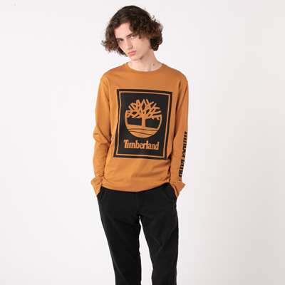 Alternate view of Mens Timberland Stacked Logo Long Sleeve Tee - Wheat