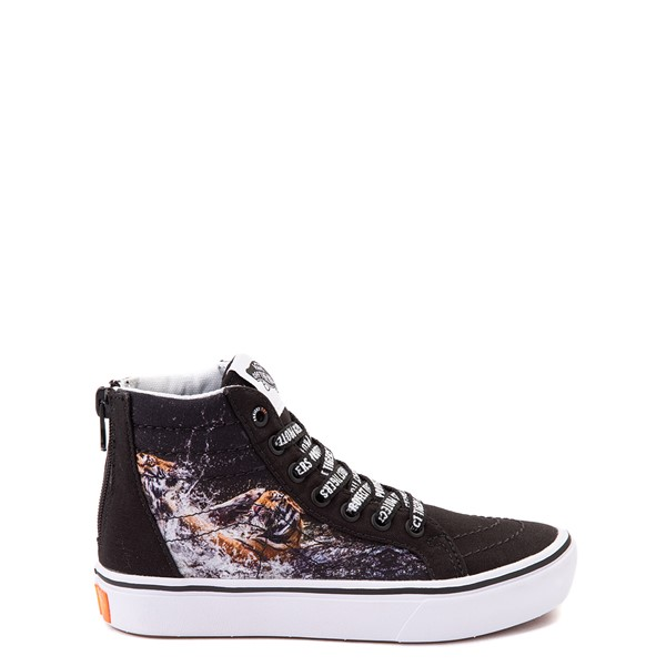 Main view of Vans x Project CAT Sk8 Hi ComfyCush® Skate Shoe - Little Kid - Black / Playing Tigers