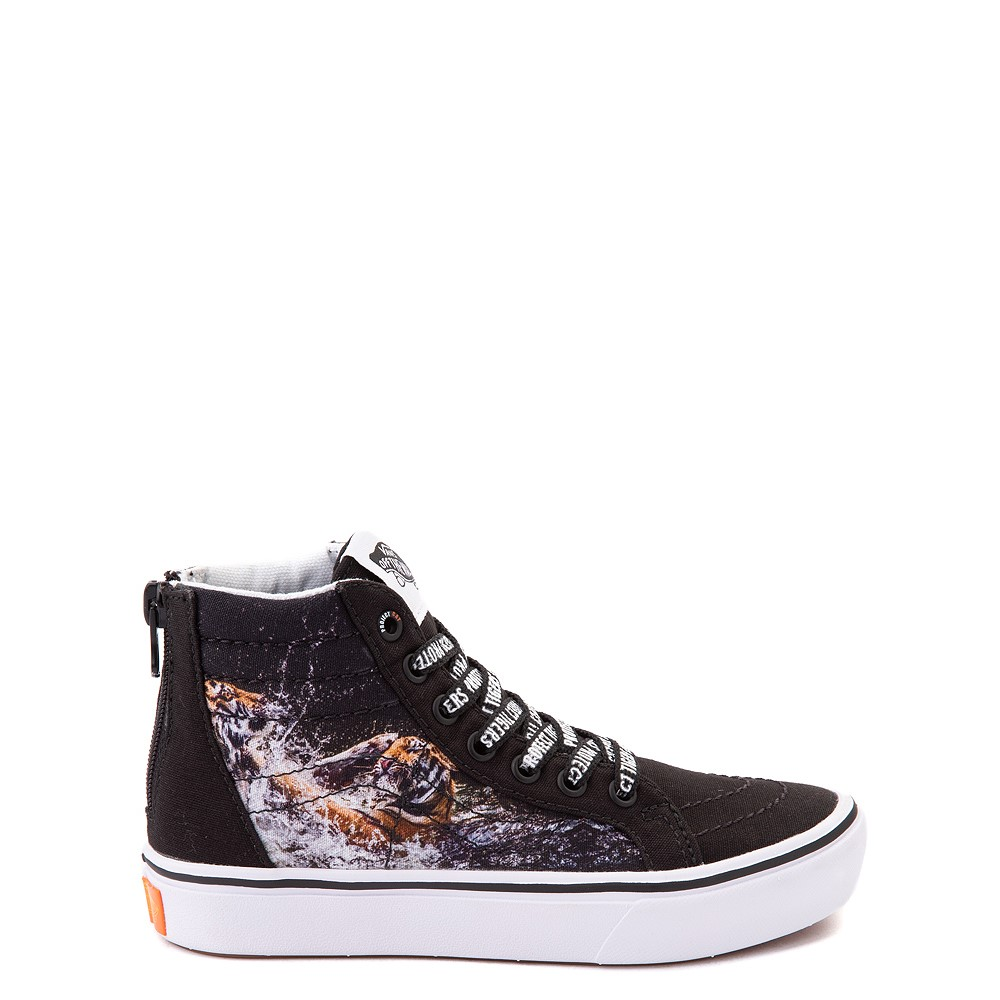 Vans x Project CAT Sk8 Hi ComfyCush® Skate Shoe - Little Kid - Black / Playing Tigers