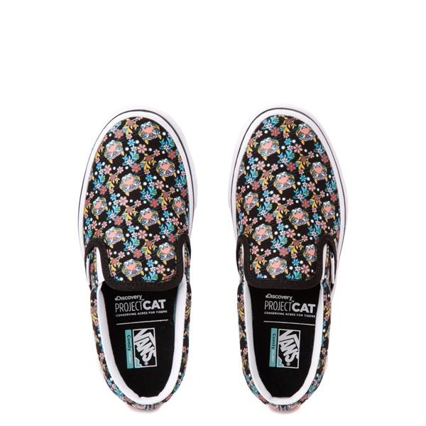 alternate view Vans x Project CAT Slip On ComfyCush® Skate Shoe - Big Kid - Black / Tiger FloralALT2