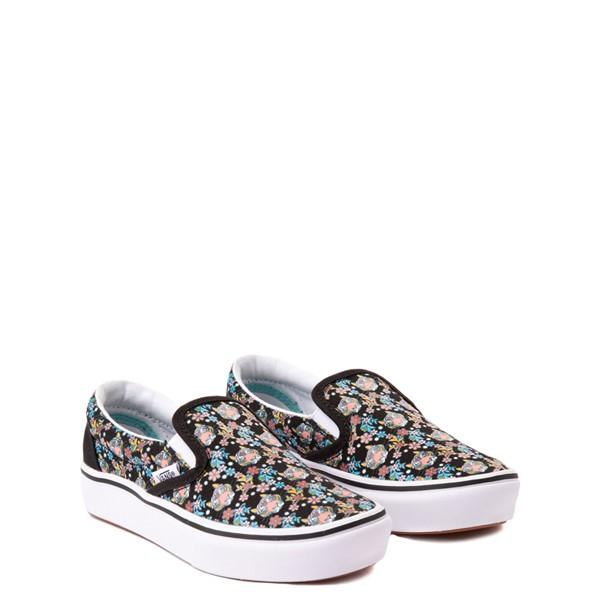 alternate view Vans x Project CAT Slip On ComfyCush® Skate Shoe - Big Kid - Black / Tiger FloralALT5