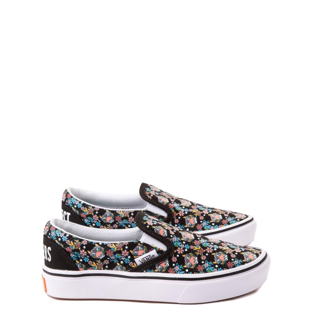 Vans x Project CAT Slip On ComfyCush® Skate Shoe - Big Kid - Black / Tiger Floral