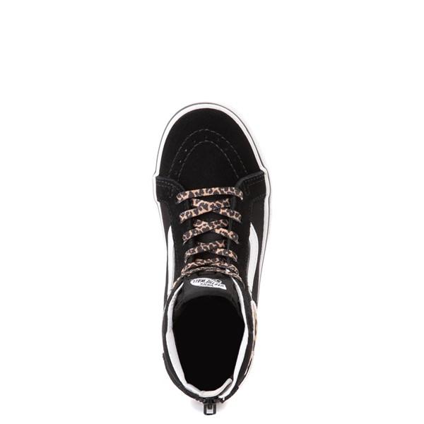 alternate view Vans Sk8 Hi Zip Leopard Heart Skate Shoe - Little Kid - BlackALT2