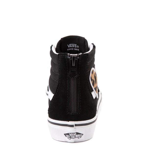 alternate view Vans Sk8 Hi Zip Leopard Heart Skate Shoe - Little Kid - BlackALT4