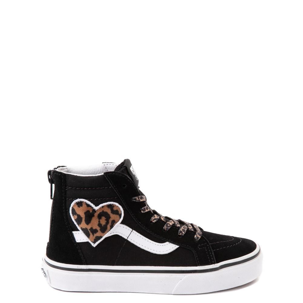 Vans Sk8 Hi Zip Leopard Heart Skate Shoe - Little Kid - Black