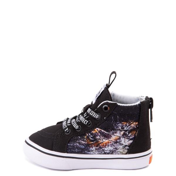 alternate view Vans x Project CAT Sk8 Hi Zip ComfyCush® Skate Shoe - Baby / Toddler - Black / Playing TigersALT1