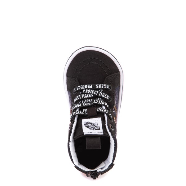 alternate view Vans x Project CAT Sk8 Hi Zip ComfyCush® Skate Shoe - Baby / Toddler - Black / Playing TigersALT2