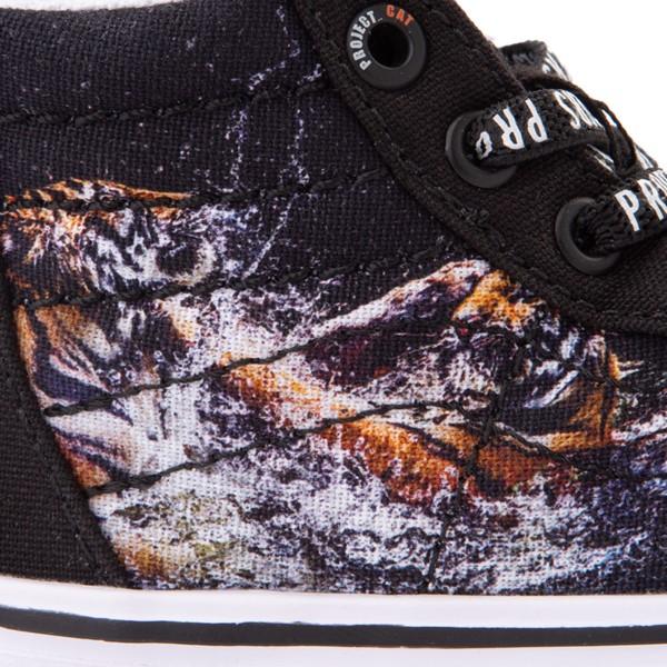 alternate view Vans x Project CAT Sk8 Hi Zip ComfyCush® Skate Shoe - Baby / Toddler - Black / Playing TigersALT4B