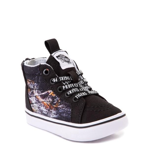 alternate view Vans x Project CAT Sk8 Hi Zip ComfyCush® Skate Shoe - Baby / Toddler - Black / Playing TigersALT5