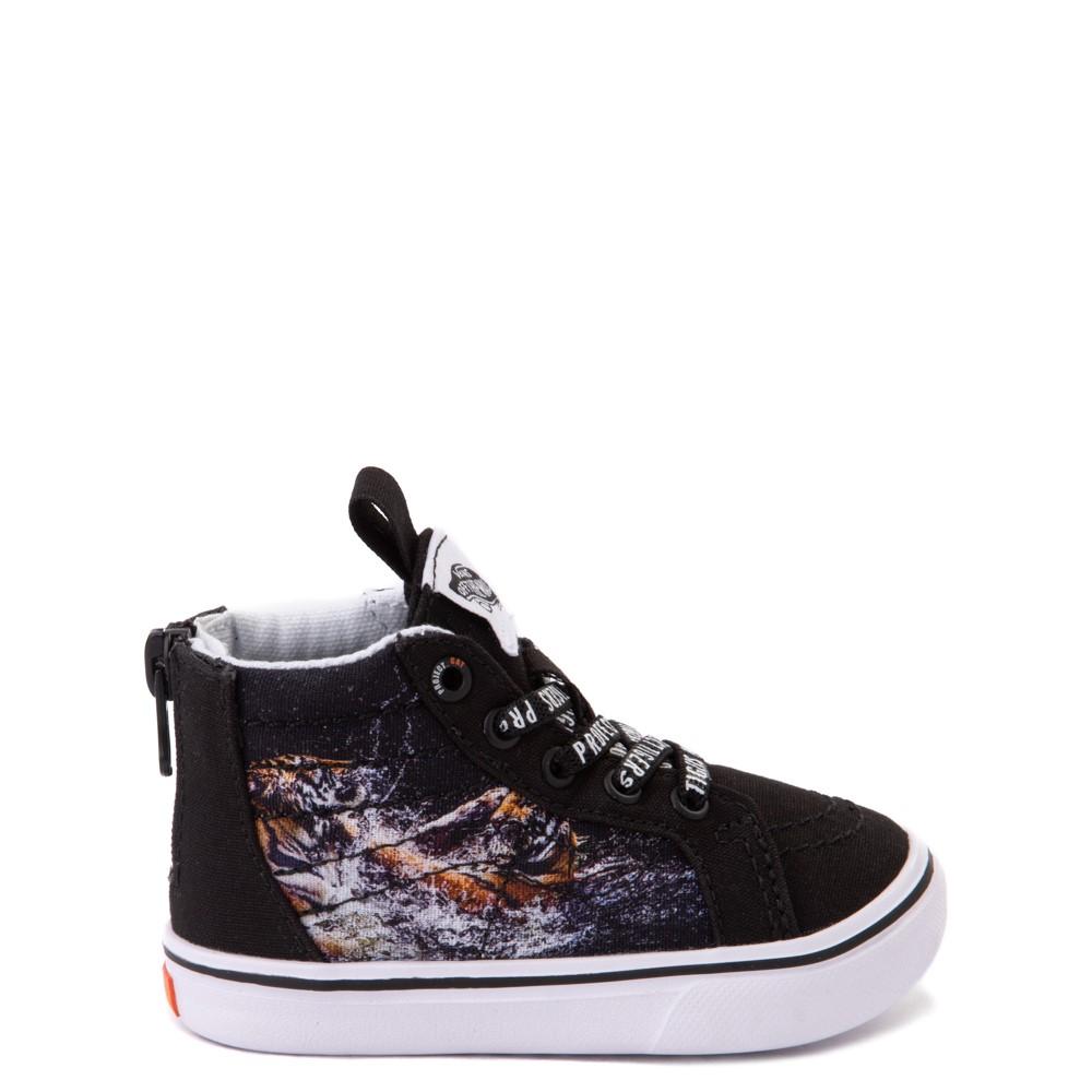 Vans x Project CAT Sk8 Hi Zip ComfyCush® Skate Shoe - Baby / Toddler - Black / Playing Tigers