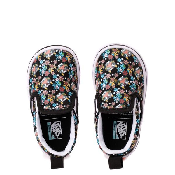 alternate view Vans x Project CAT Slip On V ComfyCush® Skate Shoe - Baby / Toddler - Black / Tiger FloralALT2