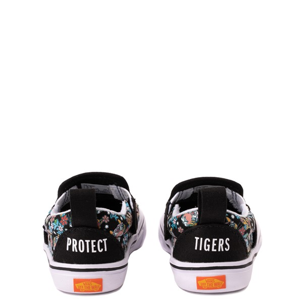 alternate view Vans x Project CAT Slip On V ComfyCush® Skate Shoe - Baby / Toddler - Black / Tiger FloralALT4