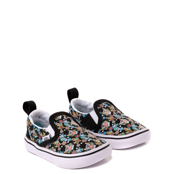 alternate view Vans x Project CAT Slip On V ComfyCush® Skate Shoe - Baby / Toddler - Black / Tiger FloralALT5