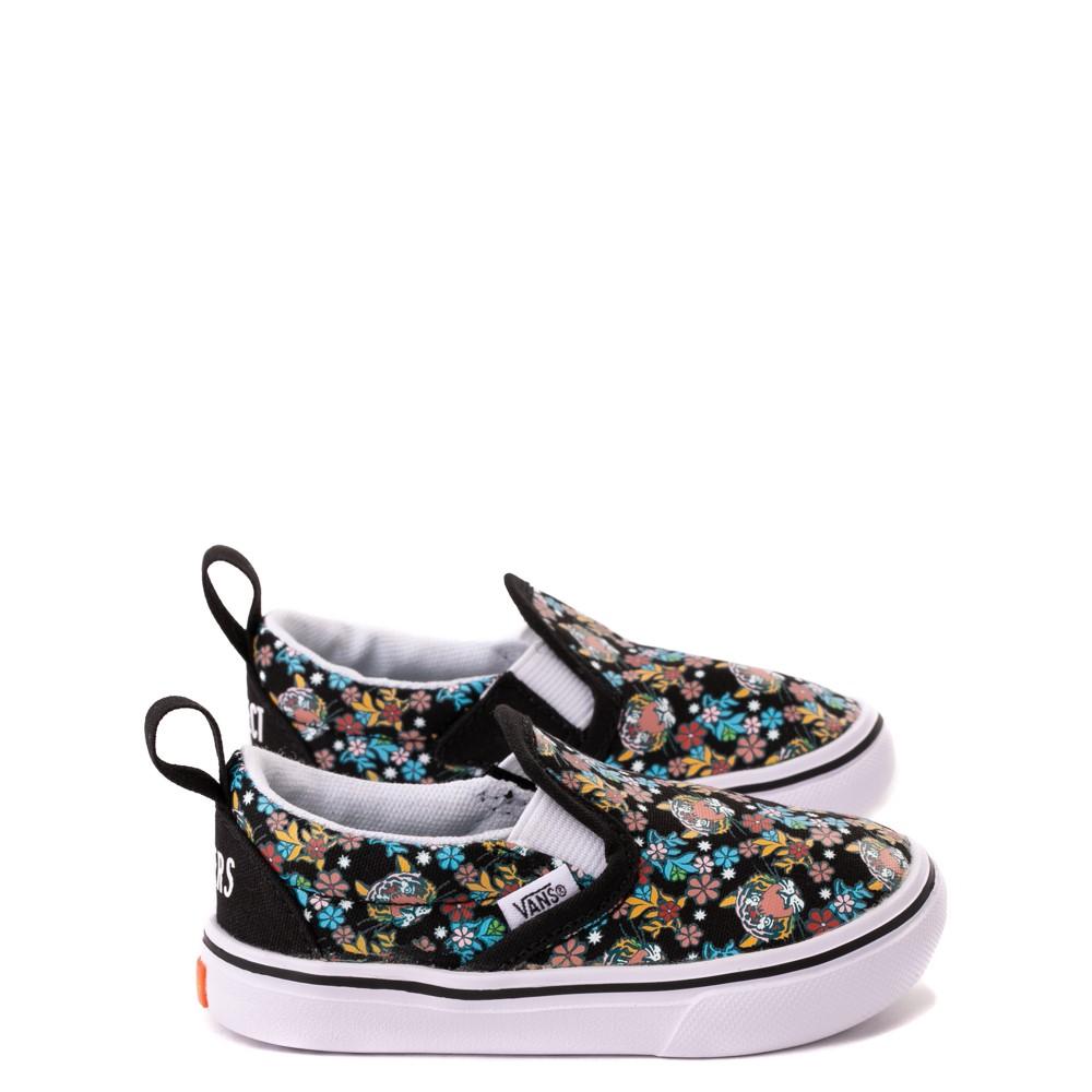Vans x Project CAT Slip On V ComfyCush® Skate Shoe - Baby / Toddler - Black / Tiger Floral