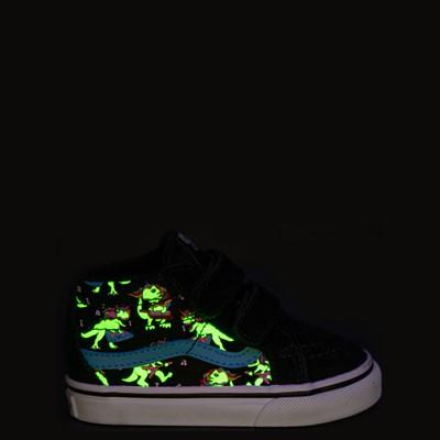 Alternate view of Vans Sk8 Mid Reissue V Uni Rex Glow Skate Shoe - Baby / Toddler - Black / Blue Atoll