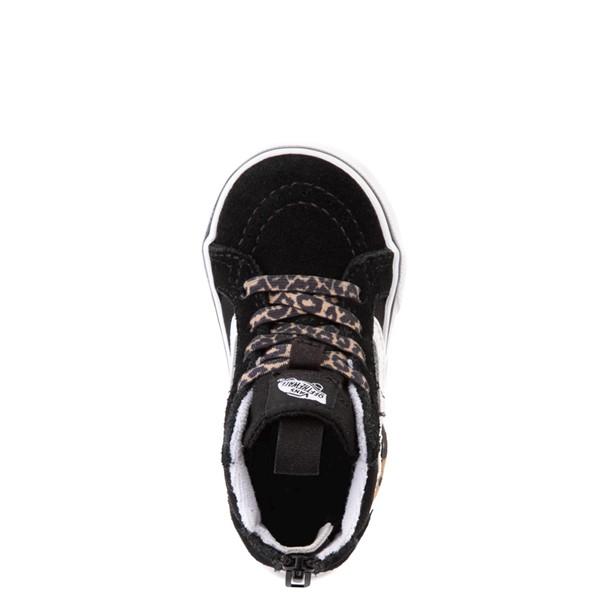 alternate view Vans Sk8 Hi Zip Leopard Heart Skate Shoe - Baby / Toddler - BlackALT2