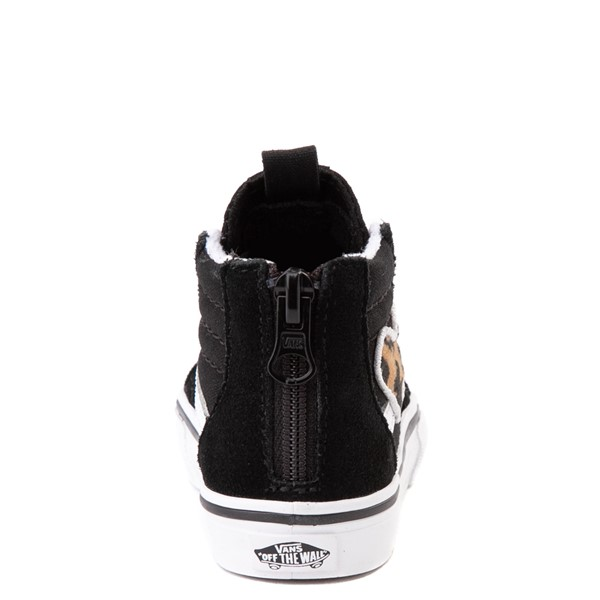 alternate view Vans Sk8 Hi Zip Leopard Heart Skate Shoe - Baby / Toddler - BlackALT4