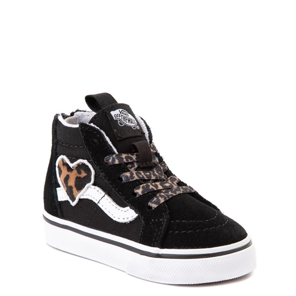 alternate view Vans Sk8 Hi Zip Leopard Heart Skate Shoe - Baby / Toddler - BlackALT5